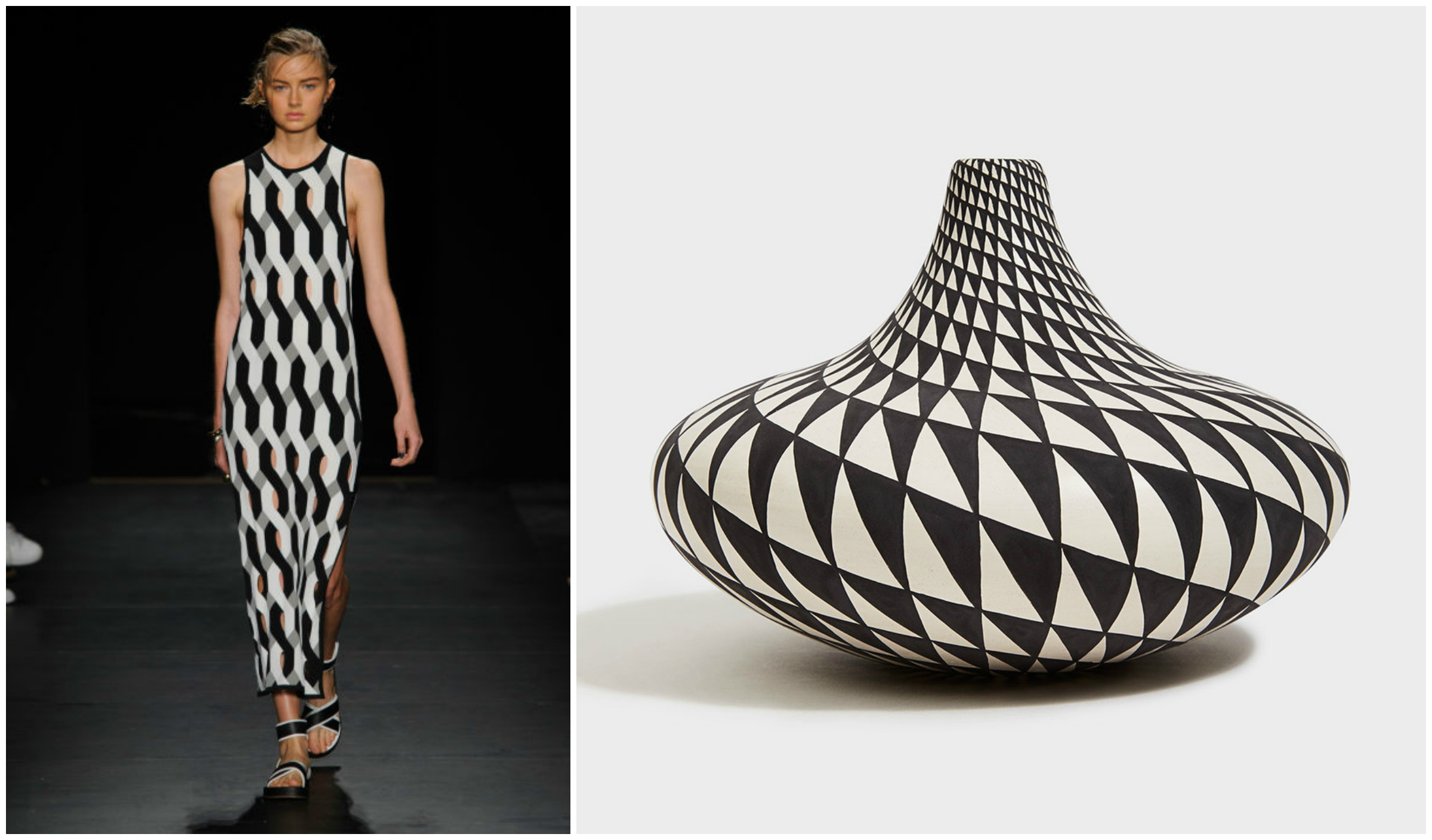 Graphic Black and White   The stark elegance of graphic black and white patterning was on full display in Rag & Bone's powerful collection. Acoma pottery captures a similarly eye-catching aesthetic with its two-toned geometric minimalism. The mind-numbing complexity of Acoma pottery is a sight to behold, creating the perfect decorative accent in any home.